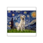 Starry Night Yellow Lab Square Sticker 3