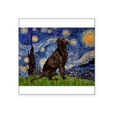 "Starry Chocolate Lab Square Sticker 3"" x 3"""