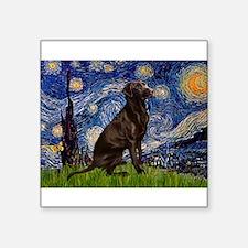 "Starry Chocolate Lab Square Sticker 3"" x 3"""