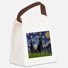 Starry Night Black Lab Canvas Lunch Bag