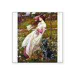Windflowers & Black Lab Square Sticker 3