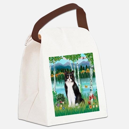 Birches / (B&W) Cat Canvas Lunch Bag