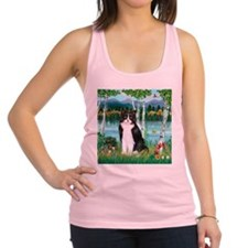 Birches / (B&W) Cat Racerback Tank Top