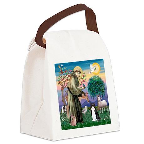 St Francis / (B&W) Cat Canvas Lunch Bag