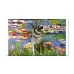 Lilies / Nor Elkhound Rectangle Car Magnet