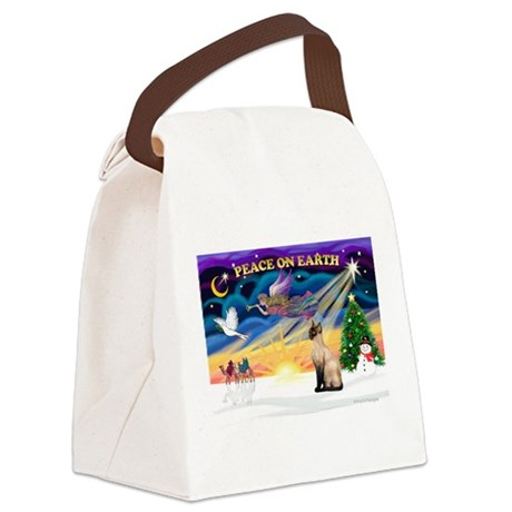 Peace / Siamese Cat Canvas Lunch Bag
