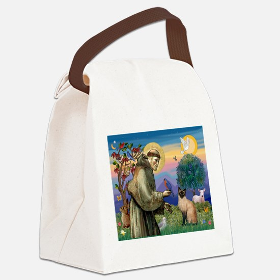 St Francis / Siamese Canvas Lunch Bag