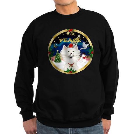 W-Peace-Cartoon Cat (W) Sweatshirt (dark)