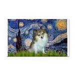 Starry Night /Pomeranian (p) Rectangle Car Magnet