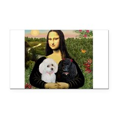 Mona & 2 Poodles Rectangle Car Magnet