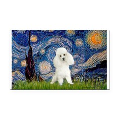 Starry / Poodle (White) Rectangle Car Magnet