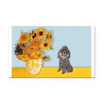 Sunflowers / Poodle (Silver) Rectangle Car Magnet