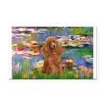 Lilies / Poodle (Apricot) Rectangle Car Magnet