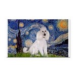 Starry Night / Std Poodle(w) Rectangle Car Magnet