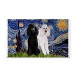 Starry Night / 2 Poodles(b&w) Rectangle Car Magnet