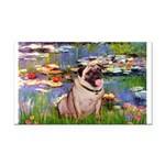 Lilies (#2)/Pug (#2) Rectangle Car Magnet