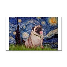 Starry Night and Pug Rectangle Car Magnet