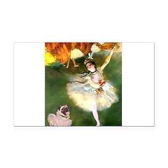Dancer 1 & fawn Pug Rectangle Car Magnet
