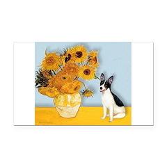 Sunflowers / Rat Terrier Rectangle Car Magnet
