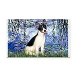Lilies / Rat Terrier Rectangle Car Magnet