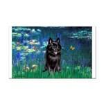 Lilies / Schipperke #4 Rectangle Car Magnet