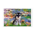 Lilies (#2)/Schnauzer Pup Rectangle Car Magnet