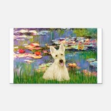 Lilies / Scottie (w) Rectangle Car Magnet