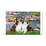 Lilies #2 / Two Shelties Rectangle Car Magnet