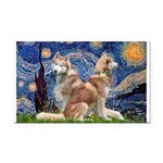 Starry Night Red Husky Pair Rectangle Car Magnet
