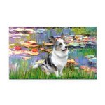 Lilies (#2) - Corgi (Bl.M) Rectangle Car Magnet