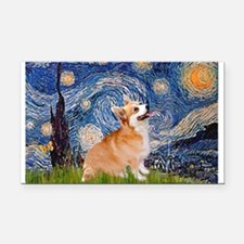 Starry Night Corgi Rectangle Car Magnet