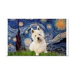 Starry Night/Westie Rectangle Car Magnet