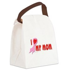 Pink I Heart/Support My Mom Canvas Lunch Bag