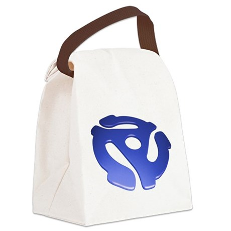 Blue 3D 45 RPM Adapter Canvas Lunch Bag