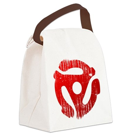 Distressed Red 45 RPM Adap Canvas Lunch Bag