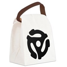 Black 45 RPM Adapter Canvas Lunch Bag