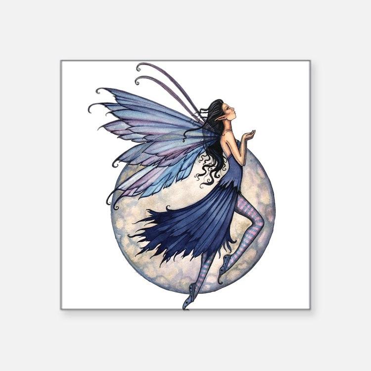 """Midnight Blue Fairy Fantasy Square Sticker 3"""" x 3"""""""