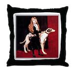 GREYHOUND & GIRL Throw Pillow