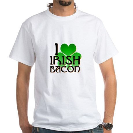 I Love Irish Bacon White T-Shirt