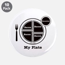 """Bacon My Plate 3.5"""" Button (10 pack)"""
