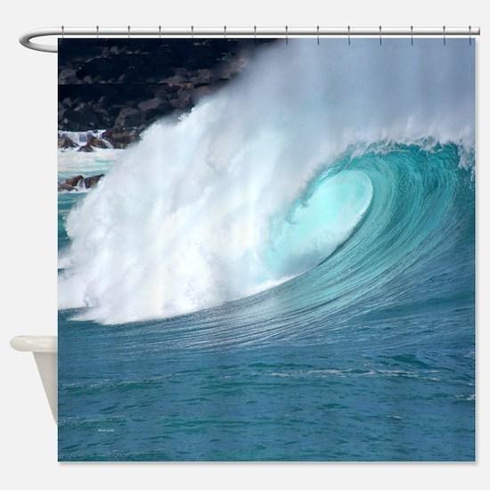 Waimea Bay Big Surf Tropical Shower Curtain