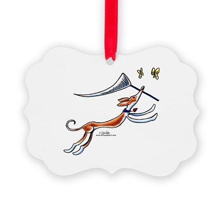 Ibizan Hound Butterflies Picture Ornament