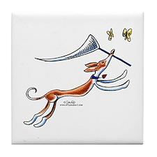 Ibizan Hound Butterflies Tile Coaster