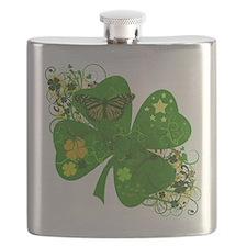 Fancy Irish 4 leaf Clover Flask