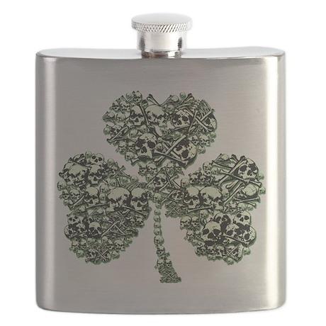 SHAMROCK SKULL in GREEN.png Flask