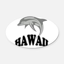 Hawaii Dolphin.png Oval Car Magnet