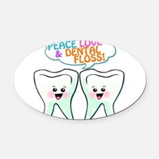 838450852peacelovedentalfloss3.png Oval Car Magnet