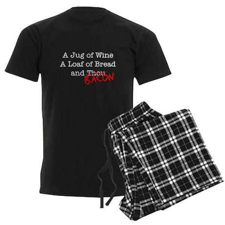 Bacon A Jug of Wine Men's Dark Pajamas