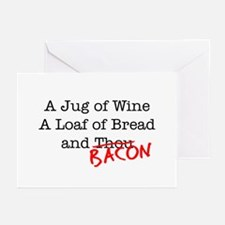 Bacon A Jug of Wine Greeting Cards (Pk of 10)