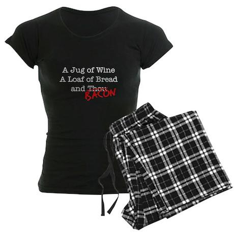 Bacon A Jug of Wine Women's Dark Pajamas